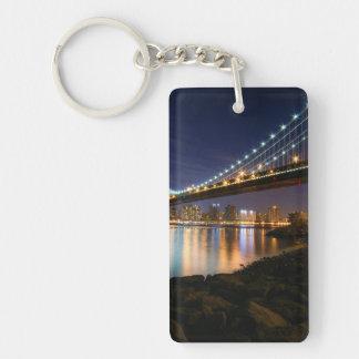 Manhattan Bridge at Night Double-Sided Rectangular Acrylic Keychain