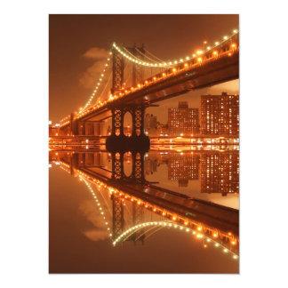 Manhattan Bridge At Night, New York City Custom Invite
