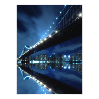 Manhattan Bridge At Night, New York City Personalized Invites