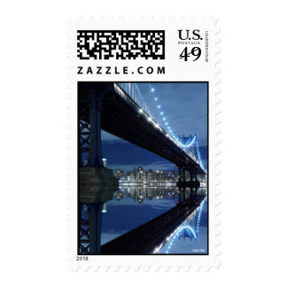 Manhattan Bridge At Night, New York City Postage Stamps
