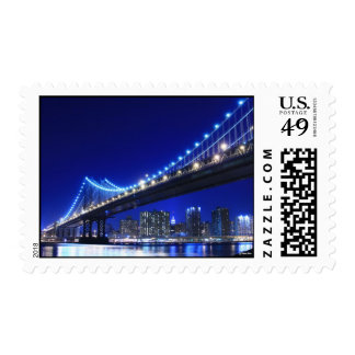 Manhattan Bridge At Night, New York City Postage