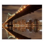 Manhattan  Bridge at Night, New York City Poster