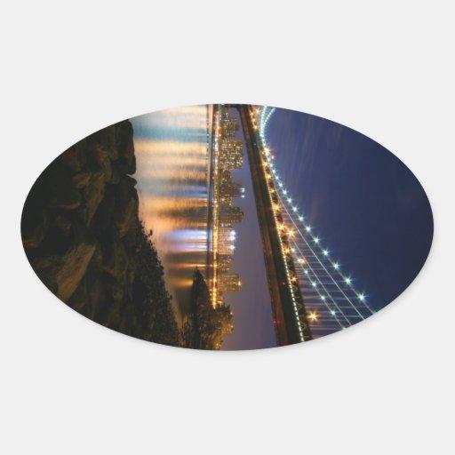 Manhattan Bridge at Night Oval Sticker