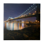 Manhattan Bridge at Night Tile