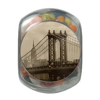 Manhattan Bridge Glass Candy Jars