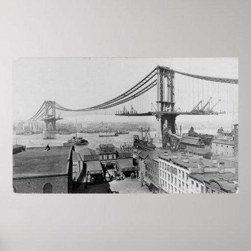 Manhattan Bridge New York City Construction 1909 Poster