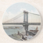 Manhattan Bridge NYC Vintage Postcard Coasters