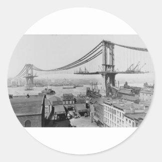Manhattan Bridge Original Print Construction 1909 Classic Round Sticker