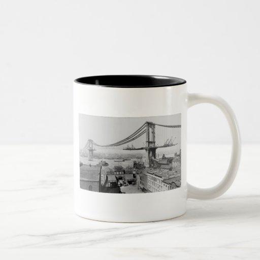 Manhattan Bridge Original Print Construction 1909 Mug