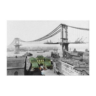 Manhattan Bridge Vintage Photo Wrapped Canvas