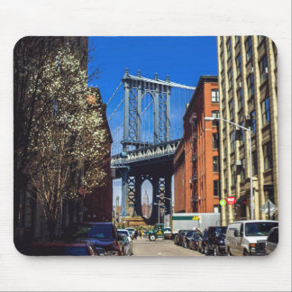 Manhattan Bridge with Empire State Building Mouse Pad