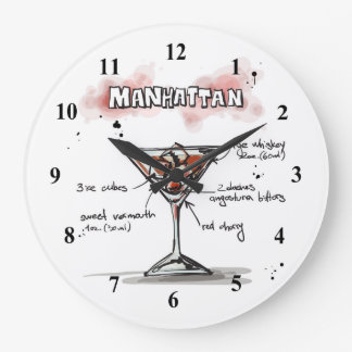 Manhattan Drink Recipe Design Wall Clock