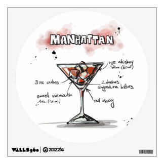 Manhattan Drink Recipe Design Wall Stickers