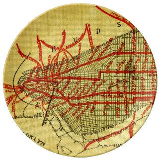Manhattan Elevated Railway System (1900) Part I Porcelain Plate