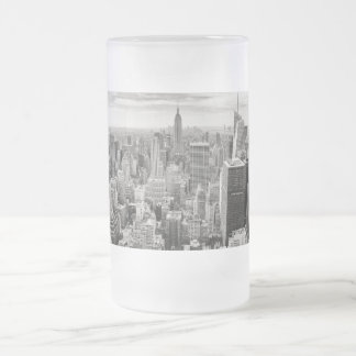 Manhattan from Above Frosted Glass Beer Mug
