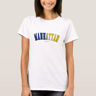 Manhattan in New York state flag colors T-Shirt