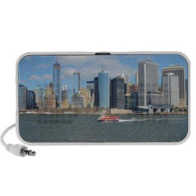 Manhattan in the distance. notebook speaker