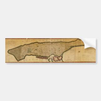 Manhattan Island New York City Map from 1807 Car Bumper Sticker