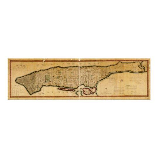 Manhattan Island New York City Map from 1807 Photo Print