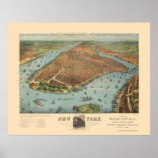 Manhattan, mapa panorámico de NY - 1879 Póster