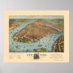 Manhattan, mapa panorámico de NY - 1879 Posters
