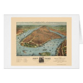 Manhattan mapa panorámico de NY - 1879 Tarjeton