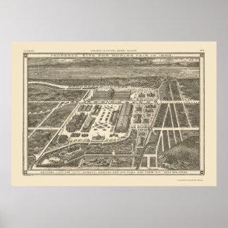 Manhattan mapa panorámico de NY - 1883 Posters