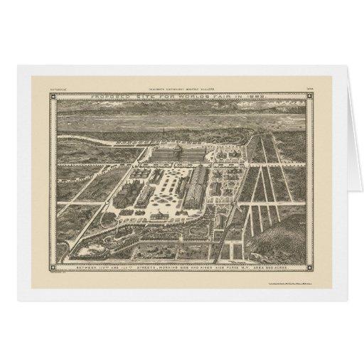 Manhattan, mapa panorámico de NY - 1883 Tarjeta De Felicitación