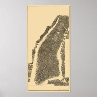 Manhattan mapa panorámico de NY - 1900 Posters