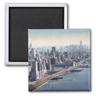 """""""Manhattan Memories"""" New York Watercolor Art 2 Inch Square Magnet"""