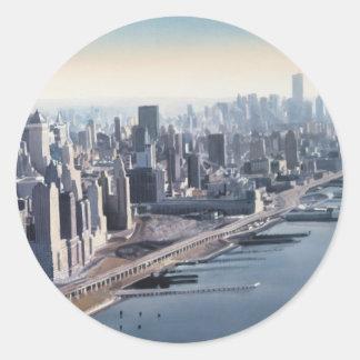 """Manhattan Memories"" New York Watercolor Art Classic Round Sticker"