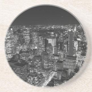 Manhattan negra y blanca posavasos de arenisca