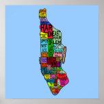Manhattan Neighborhoods Map Poster