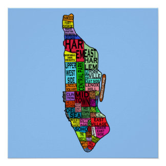 Manhattan Neighborhoods Map Poster