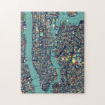 "Manhattan New York Map Jigsaw Puzzle<br><div class=""desc"">This design is a map of Manhattan,  New York.</div>"