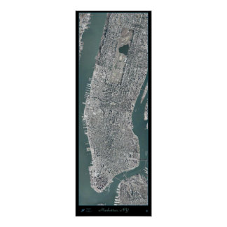Manhattan, New York (NY) from space satellite post Poster