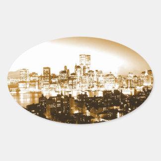 Manhattan New York Oval Sticker