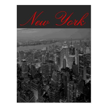 USA Themed Manhattan New York Script Postcard