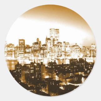 Manhattan New York Round Stickers