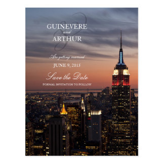 Manhattan New York Sunset Wedding Save the Date Postcard