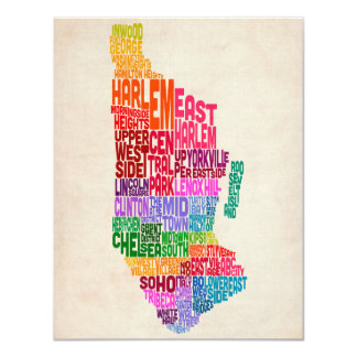 Manhattan New York Typography Text Map Personalized Announcement
