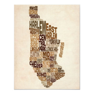 Manhattan New York Typography Text Map Invitations