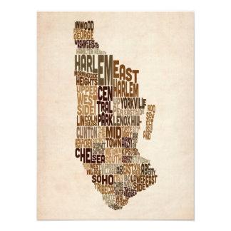 Manhattan New York Typography Text Map Art Photo