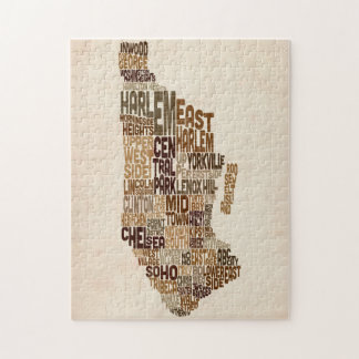 Manhattan New York Typography Text Map Puzzles