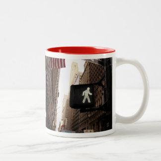 Manhattan New York Walk Sign Two-Tone Coffee Mug