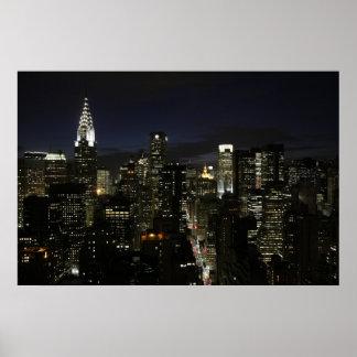 Manhattan night panorama poster