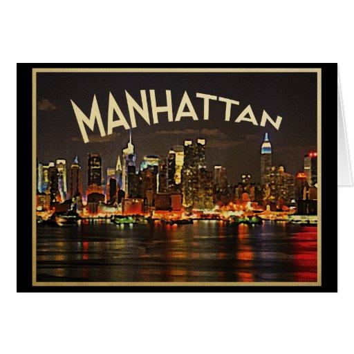 Manhattan Night Skyline Greeting Card