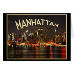 Manhattan Night Skyline Greeting Cards