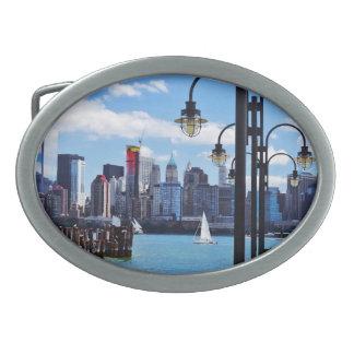 Manhattan, NY - Skyline From Liberty State Park Belt Buckle