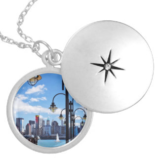 Manhattan, NY - Skyline From Liberty State Park Silver Plated Necklace